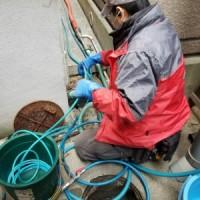 高圧洗浄 業中 排水管 トラブラン