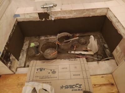 浴室リフォーム 浴槽交換 パテ作業 タイル トラブラン
