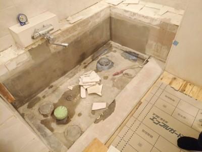 浴室 タイル貼替 施工中 トラブラン 神戸市