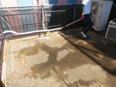 防水シート 交換工事 シート剥し 施工前 トラブラン