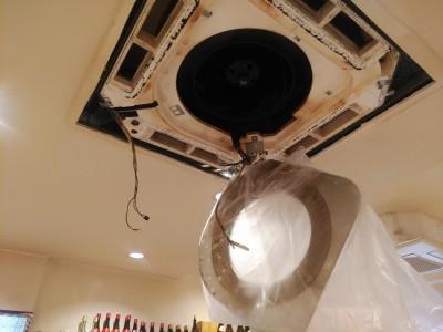 業務用 エアコン クリーニング 高圧洗浄 養生シート トラブラン