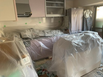 養生シート 壁補強 トラブラン キッチン トラブラン