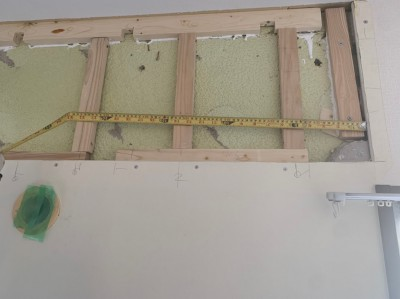 壁補修  補強板 設置 エアコン 修繕 トラブラン 神戸市
