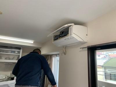 壁補強後  エアコン取付 室内機 取付け作業 トラブラン