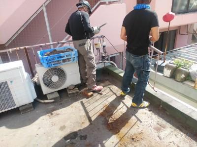 飲食店ビル 屋上 防水修繕 工事 柵撤去 神戸市 トラブラン