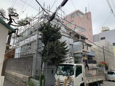 外壁塗装 足場組立 作業中 中央区 長田区 兵庫区 トラブラン