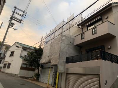外壁塗装 足場組立 作業中 須磨区 北区 神戸市 トラブラン