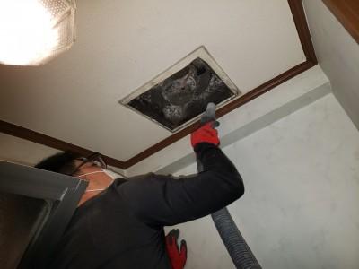 漏水修繕 4階天井 換気扇取外し 現場調査 トラブラン 神戸市