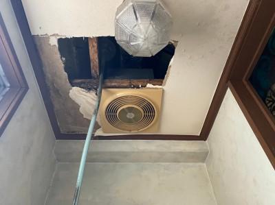 3階トイレ天井 一次対応 漏斗 設置 修繕工事 トラブラン
