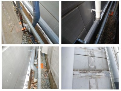 外壁補修 配管補修 外壁補修 外壁塗装 作業中 神戸市 トラブラン