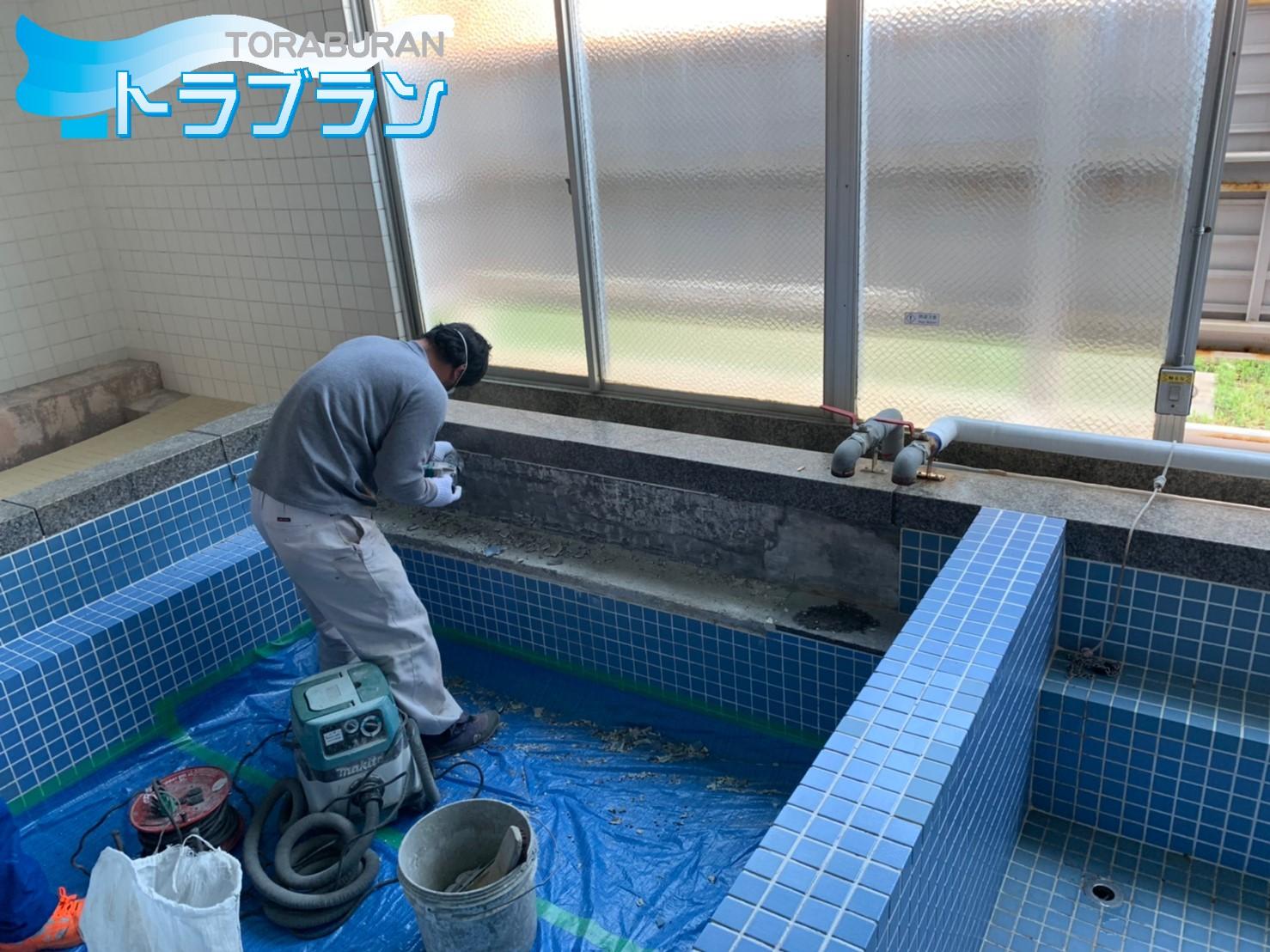 大学 寮 浴室 タイル 補修工事 タイル張替え 神戸市 トラブラン