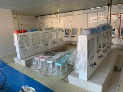 大学寮 浴槽タイル補修 養生 工事 神戸市 トラブラン
