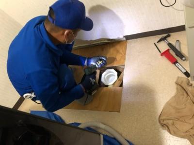 洗濯機パン取替 コンパネ 設置 作業中 トラブラン 神戸市