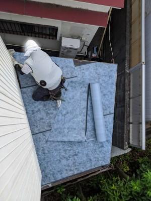 納屋 庇 軒 修繕 防水シート 神戸市 トラブラン