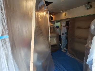 養生シート設置 コロナ 換気対策工事 神戸市 トラブラン