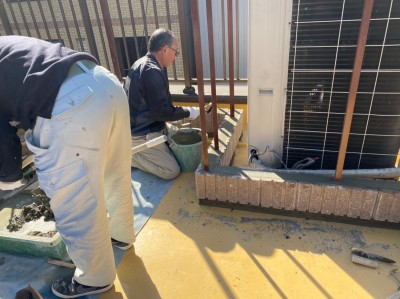 モルタル 左官ごて 仕上げ フェンス土台 神戸市 トラブラン