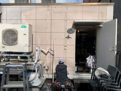 屋上 電気配線 施工 工事 工事中 天災被害 神戸市 トラブラン