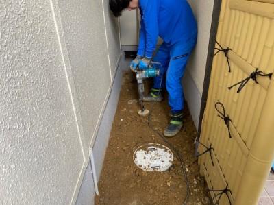 桝取替 埋房し 転圧作業 ますの交換工事 神戸市 トラブラン