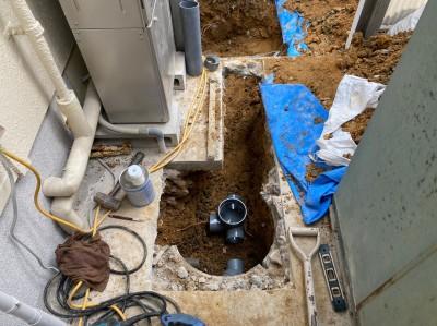 土間 斫り ます交換工事 取替え 作業中 神戸市 トラブラン