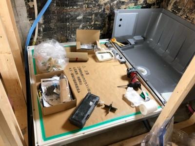 賃貸物件 浴室取替え工事 下地の取付け LIXIL 神戸市 トラブラン