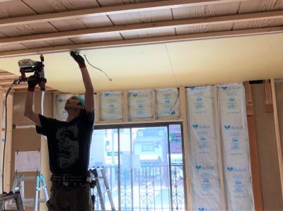 天井 コンパネの設置 和室から洋室へ リフォーム 神戸市 トラブラン