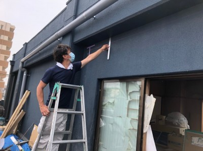 ベランダ 改装 囲いの設置 寸法の確認 壁 神戸市 トラブラン 防水