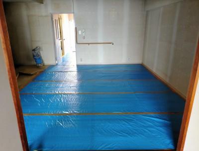 リビング 荷物の撤去 床 養生 シート 保護 工事 リフォーム マンション 神戸市 トラブラン