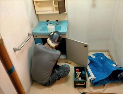 解体 撤去 工事 洗面台 洗面所 マンション 神戸市 トラブラン