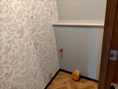 壁紙 床 トイレ設置前 トイレリフォーム トラブラン 神戸市