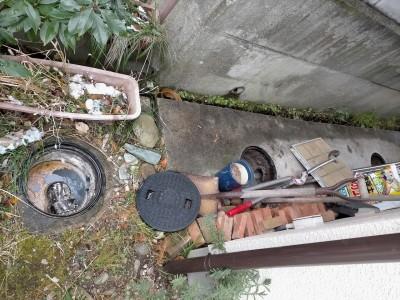 コンクリート桝 現場調査 詰まり 水漏れ 神戸市 トラブラン