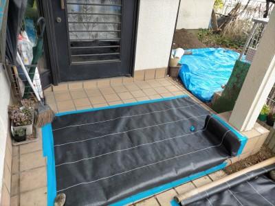 養生 シート 保護 住宅 玄関前 排水桝 交換 工事 神戸市 トラブラン