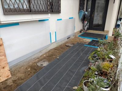養生 シート 保護 住宅 庭 壁 パネル 排水桝 交換 工事 神戸市 トラブラン