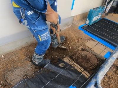 コンクリート桝撤去 掘削作業 手作業 ますの交換工事 神戸市 トラブラン