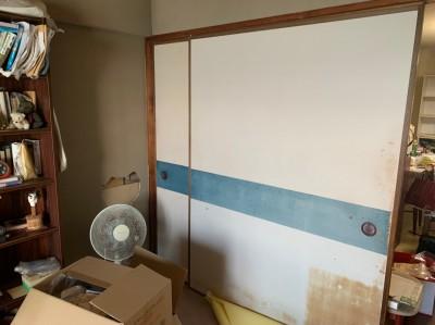 現調 ビフォー 和室 壁紙 天井 ふすま リフォーム 神戸市 トラブラン