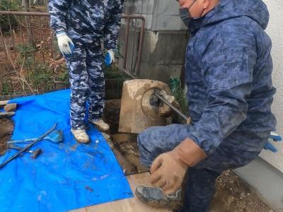 コンクリート桝 取出し 廃棄 塩ビますに交換 神戸市 トラブラン