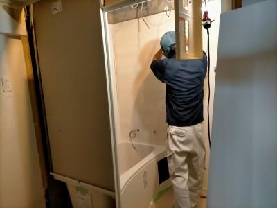 水廻り 水道工事 浴槽 壁 工事 お風呂 ユニットバス バスルーム マンション リフォーム 神戸市 トラブラン