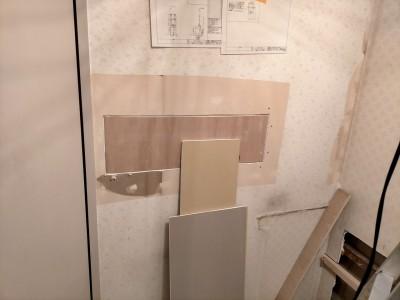 マンション 洗面所のリフォーム タオルハンガー コンパネ 神戸市 トラブラン