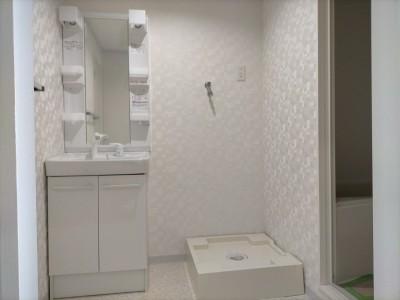 洗面所 リフォーム 洗面化粧台 オフト 洗濯水栓 神戸市 トラブラン