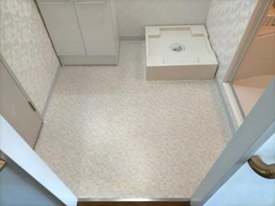 洗面所 リフォーム 洗面 床上配管型 洗濯パン ミヤコ 神戸市 トラブラン