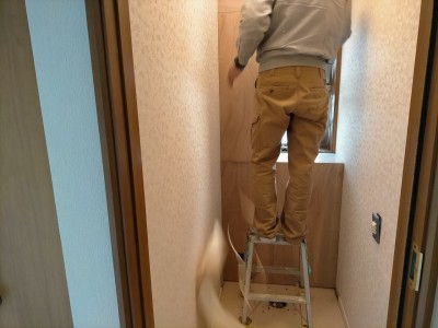 トイレ 漏水 リフォーム 交換工事 壁紙張替え 神戸市 トラブラン